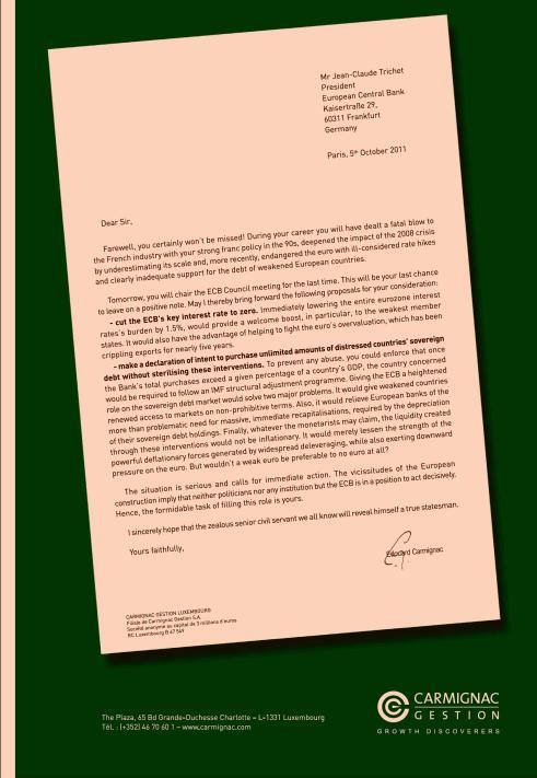 Lettre de Edouard CARMIGNAC à Jean-Claude TRICHET, président de la BCE